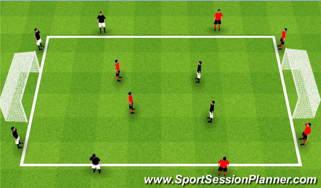 Football/Soccer Session Plan Drill (Colour): Teams of 6 - 2v2