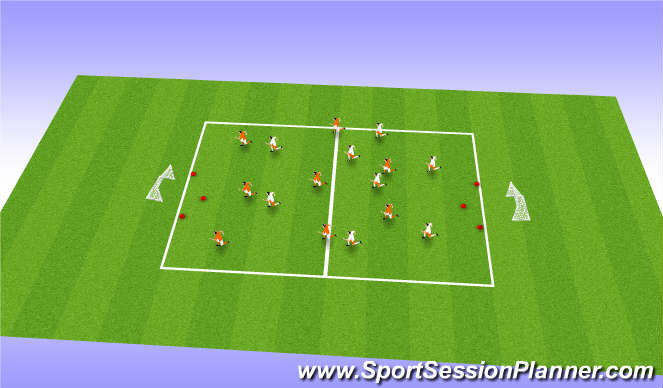 Football/Soccer Session Plan Drill (Colour): SSG 8V8 IN TIGHT AREA