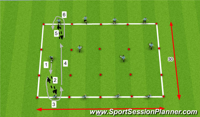 Football/Soccer Session Plan Drill (Colour): 1-2 Combination