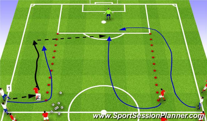 Football/Soccer Session Plan Drill (Colour): SSG 2v2 flank play