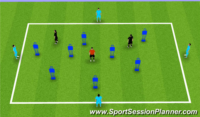 Football/Soccer Session Plan Drill (Colour): Moving into space box
