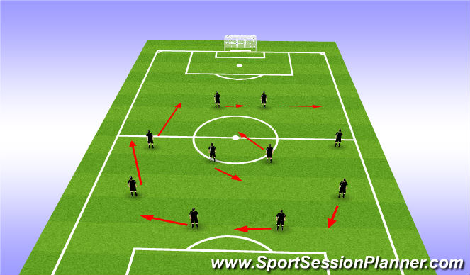 Football/Soccer Session Plan Drill (Colour): Tranistioning 4-4-2 to 3-4-3 Left Side