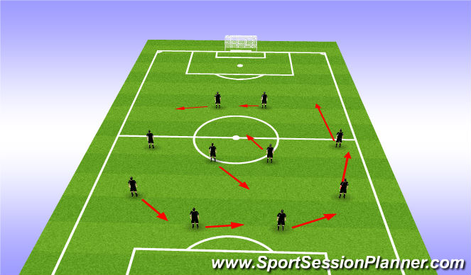 Football/Soccer Session Plan Drill (Colour): Tranistioning 4-4-2 to 3-4-3 Right Side