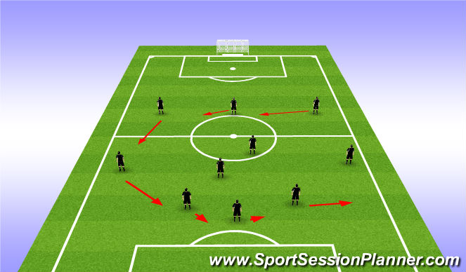 Football/Soccer Session Plan Drill (Colour): Transitioning from 3-4-3  to 4-4-2 Left Side
