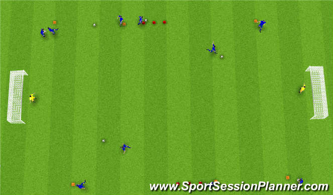 Football/Soccer Session Plan Drill (Colour): Sendinga, knattraks og skothringur.