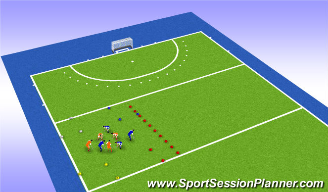 Hockey Session Plan Drill (Colour): Warming up (deel 2)