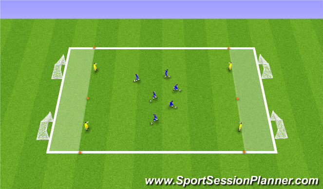 Football/Soccer Session Plan Drill (Colour): 1v1 4 Goals