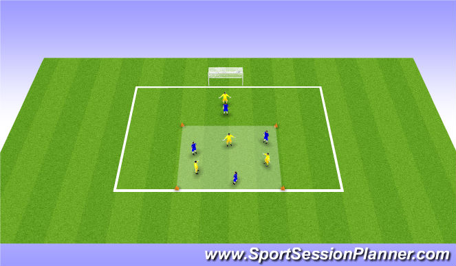 Football/Soccer Session Plan Drill (Colour): 3v3 - play into striker 1v1