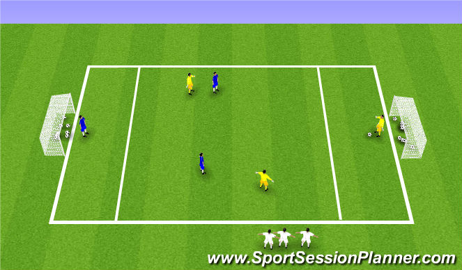 Football/Soccer Session Plan Drill (Colour): 3v3 SSG ( 1v1 )