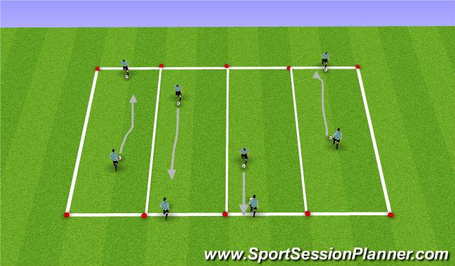 Football/Soccer Session Plan Drill (Colour): Technical Skill Acquisition (Unupposed)