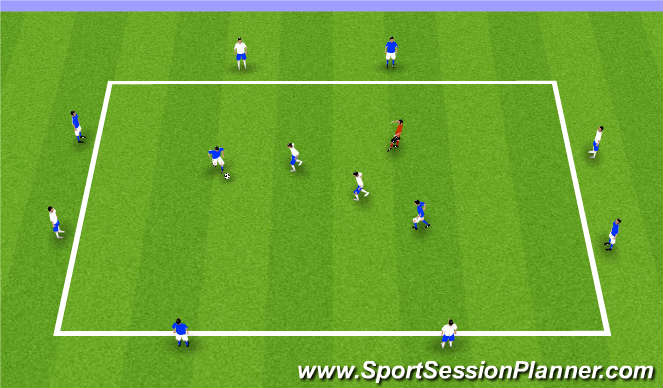 Football/Soccer Session Plan Drill (Colour): 2v2+1 with outside support