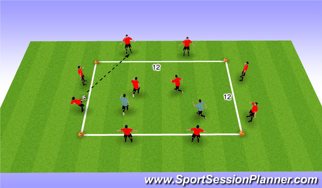 Football/Soccer Session Plan Drill (Colour): Technical 8+2 v2