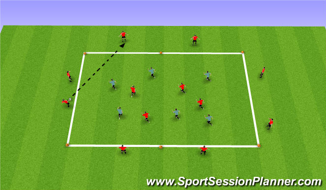 Football/Soccer Session Plan Drill (Colour): Tech/Tact 8+4 v 6