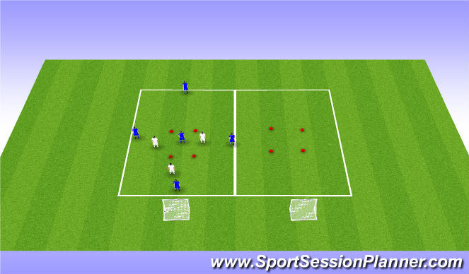 Football/Soccer Session Plan Drill (Colour): 5v3 Rondos with central zone