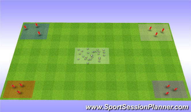 Football/Soccer Session Plan Drill (Colour): Ball Stealers