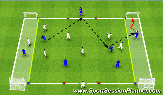 Football/Soccer Session Plan Drill (Colour): PSAM 1 : Wide zone 4 goal game