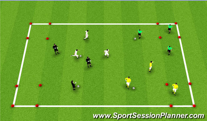Football/Soccer Session Plan Drill (Colour): Terchnical Warmup-Pass and Move