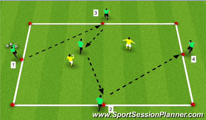 Football/Soccer Session Plan Drill (Colour): 5v2 - Attacking Pass and Move