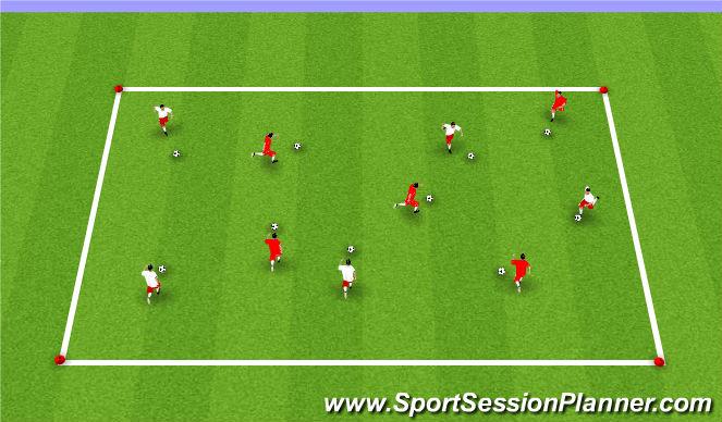Football/Soccer Session Plan Drill (Colour): Week #1 Dribbling Box