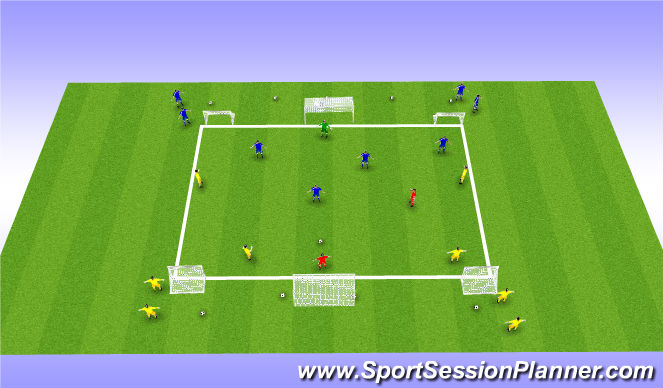 Football/Soccer Session Plan Drill (Colour): Expanded Small sided 4v4 w GK's