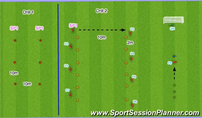 Football/Soccer Session Plan Drill (Colour): Warm Up Variation 2