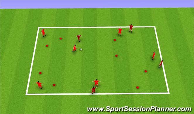 Football/Soccer Session Plan Drill (Colour): 6v4 Gate Game