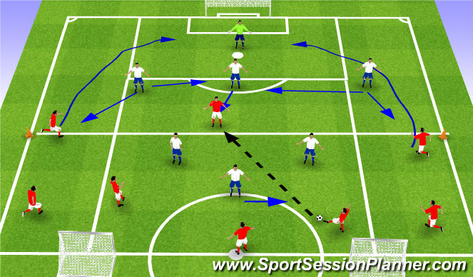 Football/Soccer Session Plan Drill (Colour): ESSG 8v6+1 to small goals