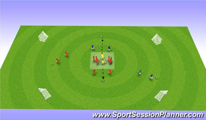 Football/Soccer Session Plan Drill (Colour): 1v1 on four goals