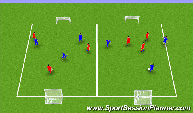 Football/Soccer Session Plan Drill (Colour): SSG, 3v3