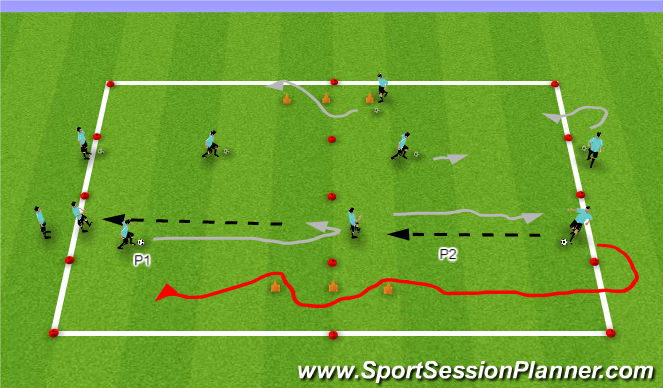Football/Soccer Session Plan Drill (Colour): Dribbling/Turning