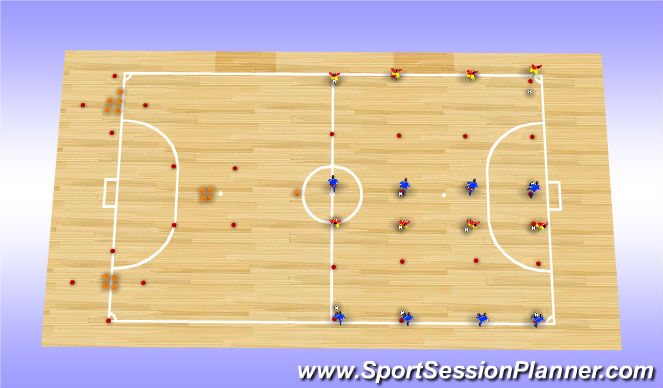 Futsal Session Plan Drill (Colour): Subway Switch Half