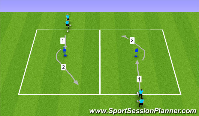 Football/Soccer Session Plan Drill (Colour): Dribbling- 2