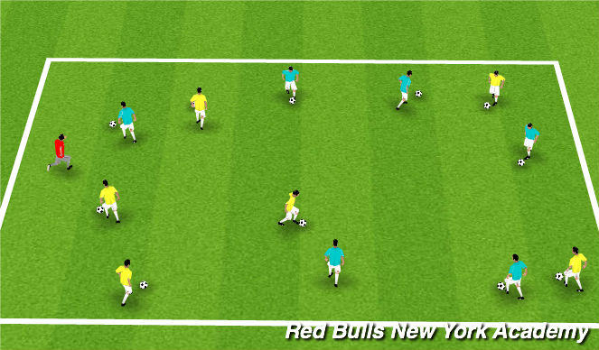 Football/Soccer Session Plan Drill (Colour): Free Movement; Red Light - Green Light