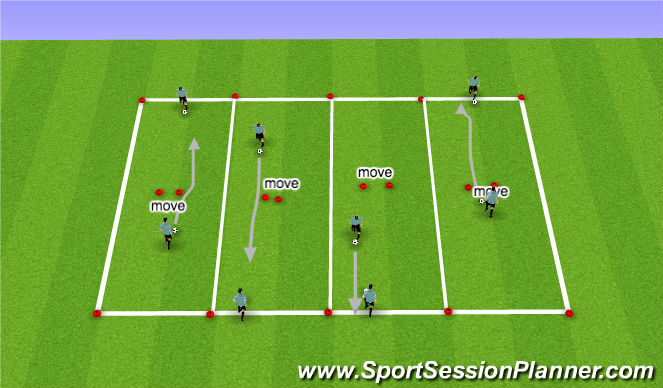 Football/Soccer Session Plan Drill (Colour): Technical Skill Acquisition (Unupposed)