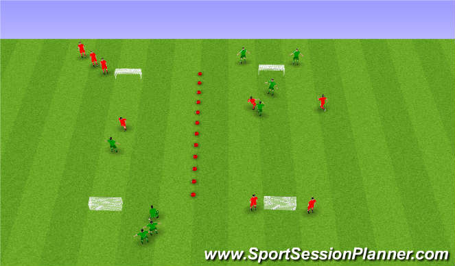 Football/Soccer Session Plan Drill (Colour): 1 á 1 eða 2 á 2.