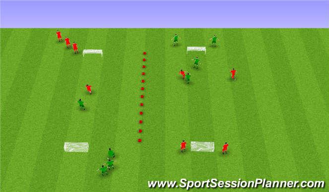 Football/Soccer Session Plan Drill (Colour): 1 á 1 eða 2 á 2.