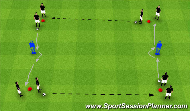 Football/Soccer Session Plan Drill (Colour): Sides Dribbling & Passing