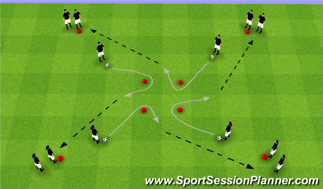 Football/Soccer Session Plan Drill (Colour): Four Square-Dribbling
