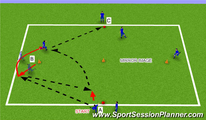 Football/Soccer Session Plan Drill (Colour): Warm Up Stage 1