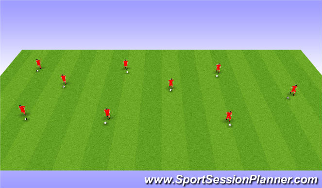 Football/Soccer Session Plan Drill (Colour): Warmup and ball Mastery