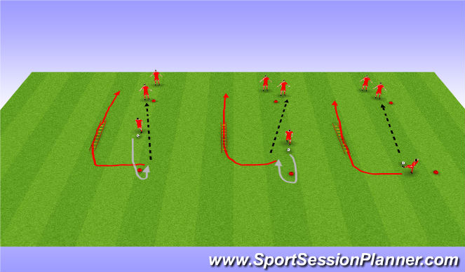 Football/Soccer Session Plan Drill (Colour): Dribblign and agility