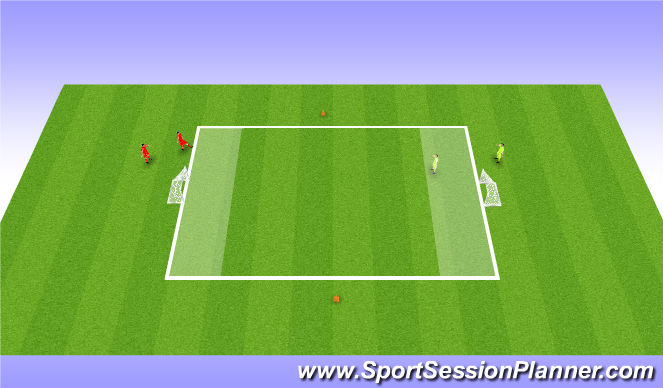 Football/Soccer Session Plan Drill (Colour): 1 v1 with rection