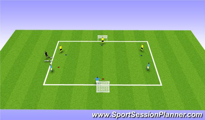 Football/Soccer Session Plan Drill (Colour): Vshape 3vs3 - intro