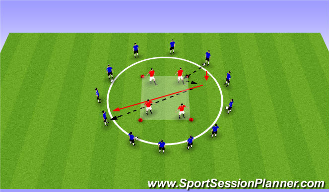 Football/Soccer Session Plan Drill (Colour): Drill - Passing across a Circle
