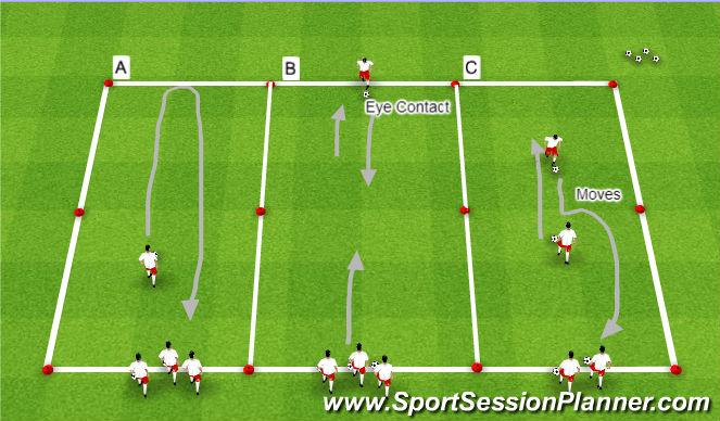 Football/Soccer Session Plan Drill (Colour): Dribbling Rotation