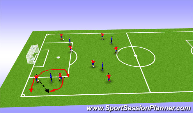 Football/Soccer Session Plan Drill (Colour): warmup 2vs1