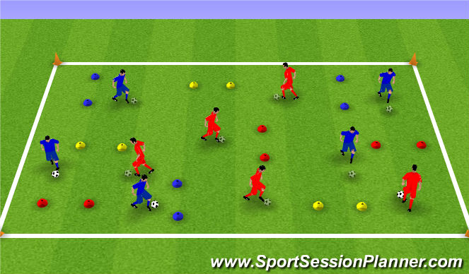 Football/Soccer Session Plan Drill (Colour): Footskills Using Gates