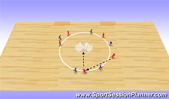 Futsal Session Plan Drill (Colour): Triangle Goal Game (toe ball finishing)