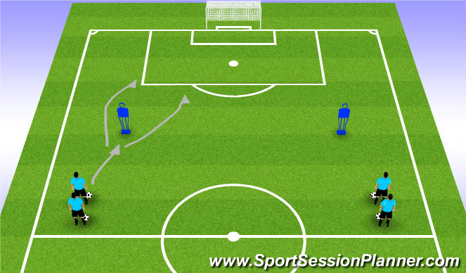 Football/Soccer Session Plan Drill (Colour): Tech Warm Up 2