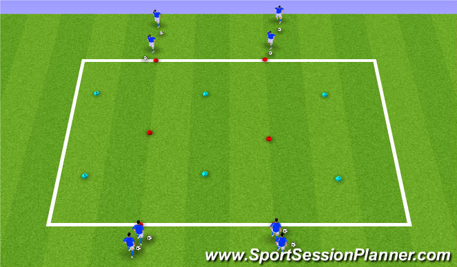 Football/Soccer Session Plan Drill (Colour): 1v1 at Angle